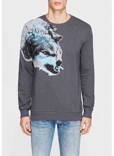 Mavi Baskılı Sweatshirt Gri